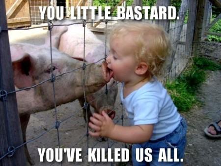 Baby kissing pig